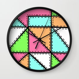 Marker Patchwork – Triangles and Rectangles – Pink Aqua Green Wall Clock