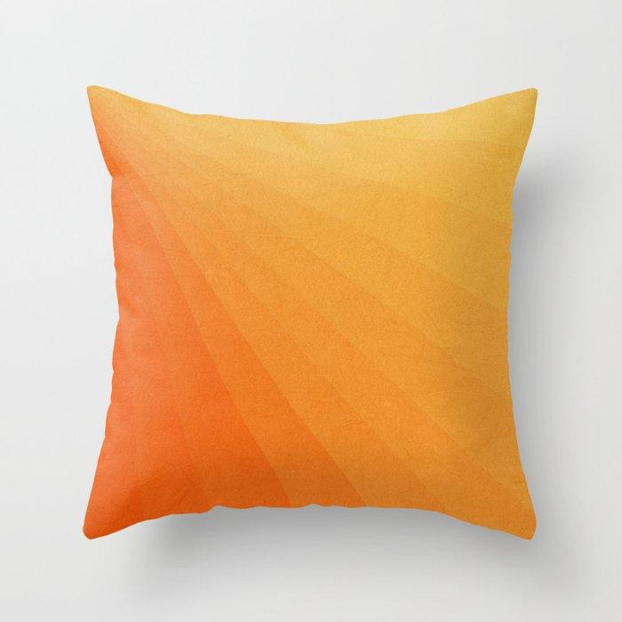 Shades of Sun - Line Gradient Pattern between Light Orange and Pale Orange Throw Pillow