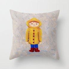 Boy In Rain Throw Pillow