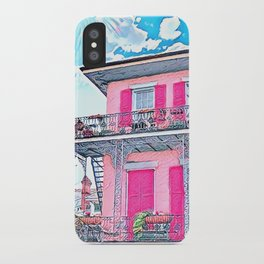 Watercolor Pink New Orleans French Quarter Nola Home iPhone Case