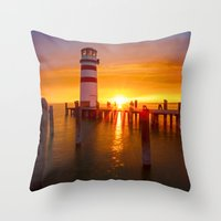 lighthouse Throw Pillows featuring lighthouse by Photoplace