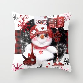 Santa Letter Delivery Snowman by Sheena Pike Throw Pillow