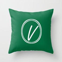 Monogram - Letter V on Cadmium Green Background Throw Pillow