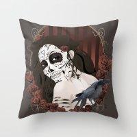 dia de los muertos Throw Pillows featuring Dia de los Muertos by Kretly