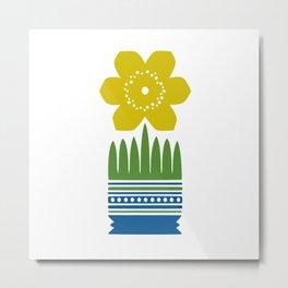 Nordic Yellow Flower Metal Print