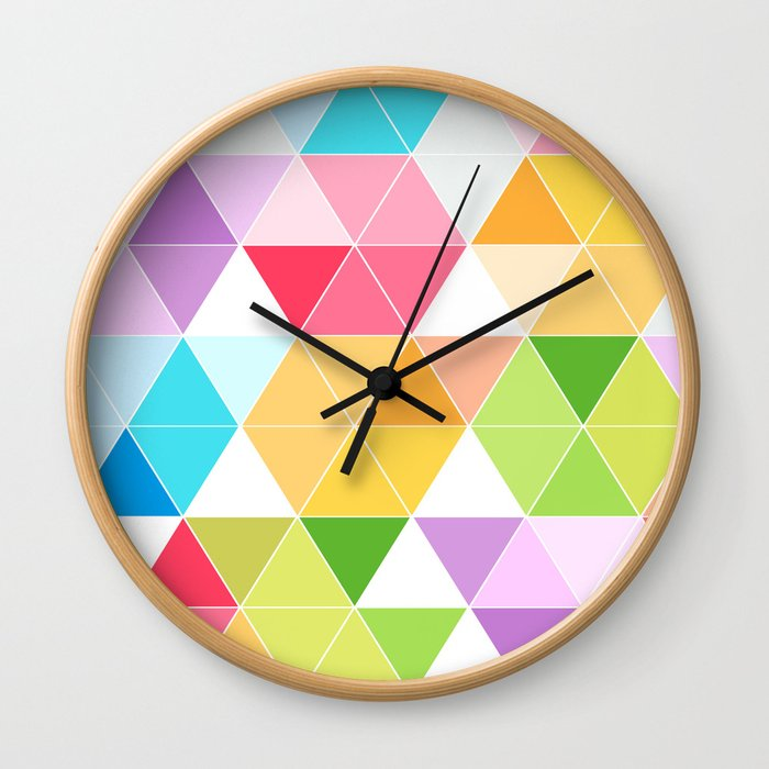 Colorful Triangle Mosaic Wall Clock
