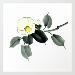 White camellia sumi ink and japanese watercolor painting Art Print