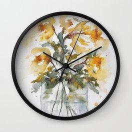 Essence of Daffodil in Watercolor Wall Clock