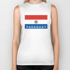 Paraguay country flag name text Biker Tank