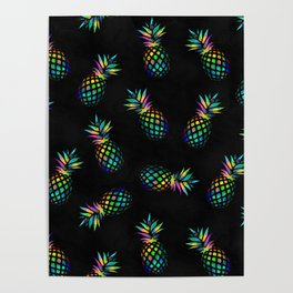 Iridescent pineapples Poster