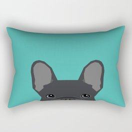 French Bulldog black coat peeking cute frenchie pure breed dog lover gifts Rectangular Pillow
