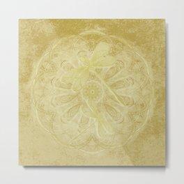 Embroidered dragonflies on gold mandala Metal Print