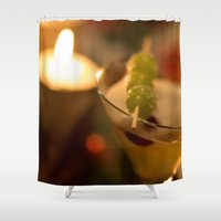martini Shower Curtains featuring Martini Hour by Karelle Renaud