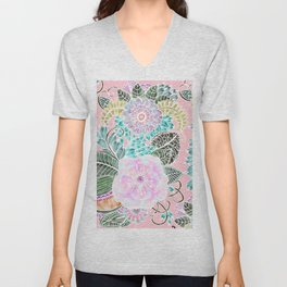 Blush pink lavender green white watercolor hand painted flowers Unisex V-Neck