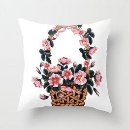 Beautiful Flower Basket Throw Pillow