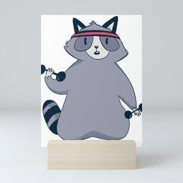 Raccoon Strength Training Sport Mini Art Print