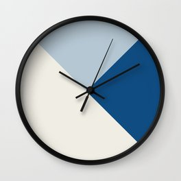 Baby Blue meets Classic Blue & Coconut Milk Geometric #1 #minimal #decor #art #society6 Wall Clock