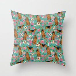 Bloodhound floral dog breed dog pattern pet friendly pet portraits custom dog gifts mint Throw Pillow