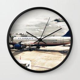 US Aiways Plane at Ronald Reagan Washington National Airport Wall Clock