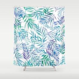 Watercolour Ferns | Original Blue Green Shower Curtain