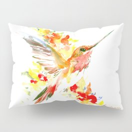 Hummingbird and Flame Colored Flowers, yellow red floral art design Pillow Sham