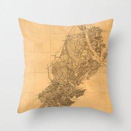 Map Of Savannah 1861 Throw Pillow