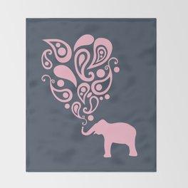 Pink Grey Paisley Elephant Pattern Design Throw Blanket