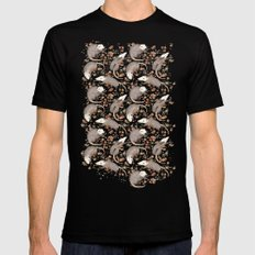 Opossum and Roses Black Mens Fitted Tee LARGE