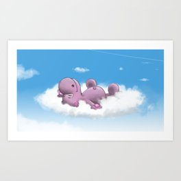Archibald sleeping on the cloud Art Print