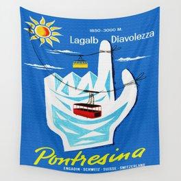 Pontresina Switzerland - Vintage Travel Wall Tapestry