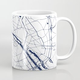 Paris France Minimal Street Map - Navy Blue and White Coffee Mug