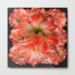 Black-Red Amaryllis Floral Pattern Metal Print