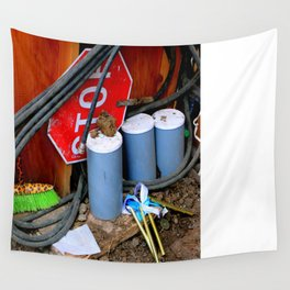 Garages Ail - Fancy Broom And Wind Chimes Wall Tapestry