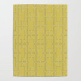 Simply Mid-Century Retro Gray on Mod Yellow Poster