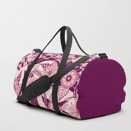 Artsy Girly Plum Pink Floral Illustration Art Duffle Bag