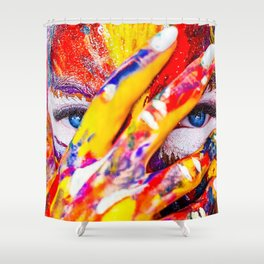 Women with paint on her hands and face Shower Curtain