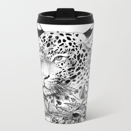 black and white jungle leopard Metal Travel Mug
