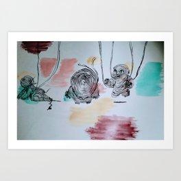 Floating Babies Art Print