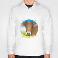 cow Hoodies featuring cow by Li-Bro
