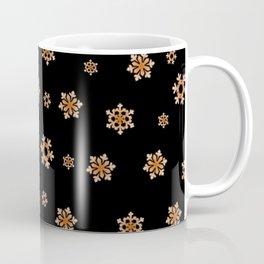 Snowflakes (Orange on Black) Coffee Mug