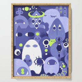 Cute Eye Monsters in Purple and Green Serving Tray