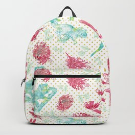 Beautiful Australian Animals and Flowers on Gold Polka Dots Backpack