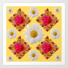 PINK ROSE & WHITE DAISIES YELLOW GARDEN ART Art Print