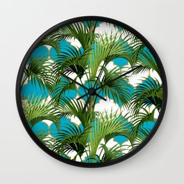 Geometric Palm Leaf Pattern - Turquoise Gold Wall Clock