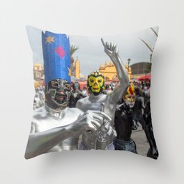 Silver Lucha Libre Throw Pillow