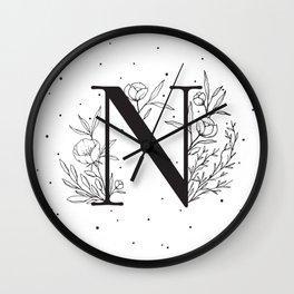 Black Letter N Monogram / Initial Botanical Illustration Wall Clock