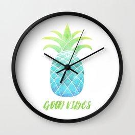 Good Vibes: Blue Pineapple Wall Clock