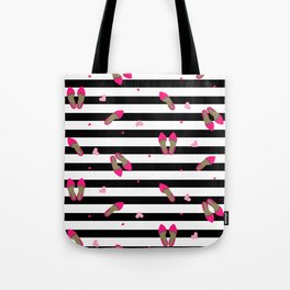 Pumps on stripped black Tote Bag