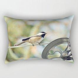 Chick on a line Rectangular Pillow