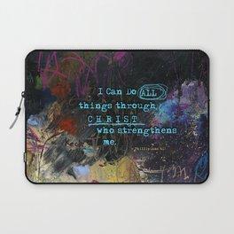 Phillipians 4:13 Bible Verse Scripture Abstract Art by Michel Keck Laptop Sleeve